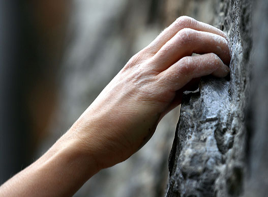 The climber's hand